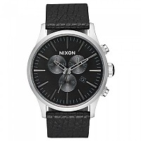 [해외]닉슨 Sentry Chrono Leather 136450291 Black / Gunmetal / Black