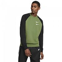 [해외]나이키 Sportswear Swoosh Crew French Terry Treeline / Black / White