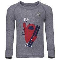 [해외]오들로 Warm Trend 스몰 셔츠 L/S 크루 넥 Grey Melange / Placed Print Fw18