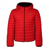 [해외]라코스테 Lightweight Foldable Hooded Water-Resistant Pufffer 137648500 Black / Red