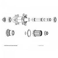 [해외]스램 Rear Wheel Axle MTH 746 Cassette/Nuts/End Caps 1137670877 Silver